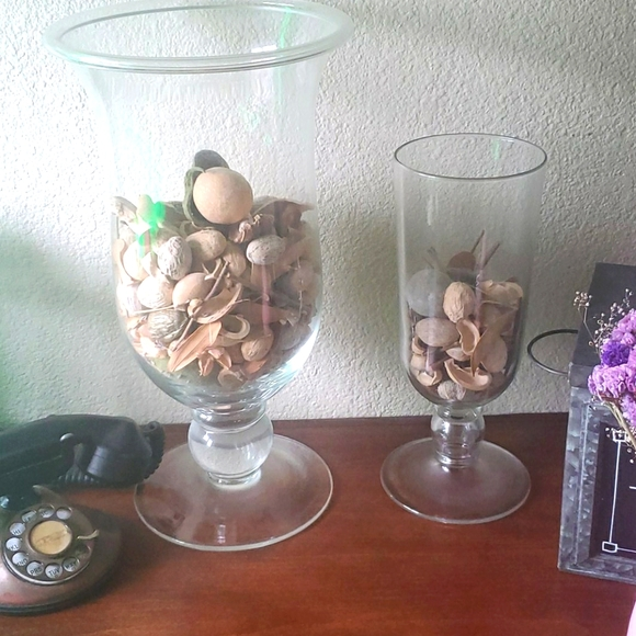Set of 2 Pottery Barn hurricane vase candle holder